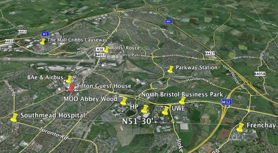 Filton North Bristol B and B Directions